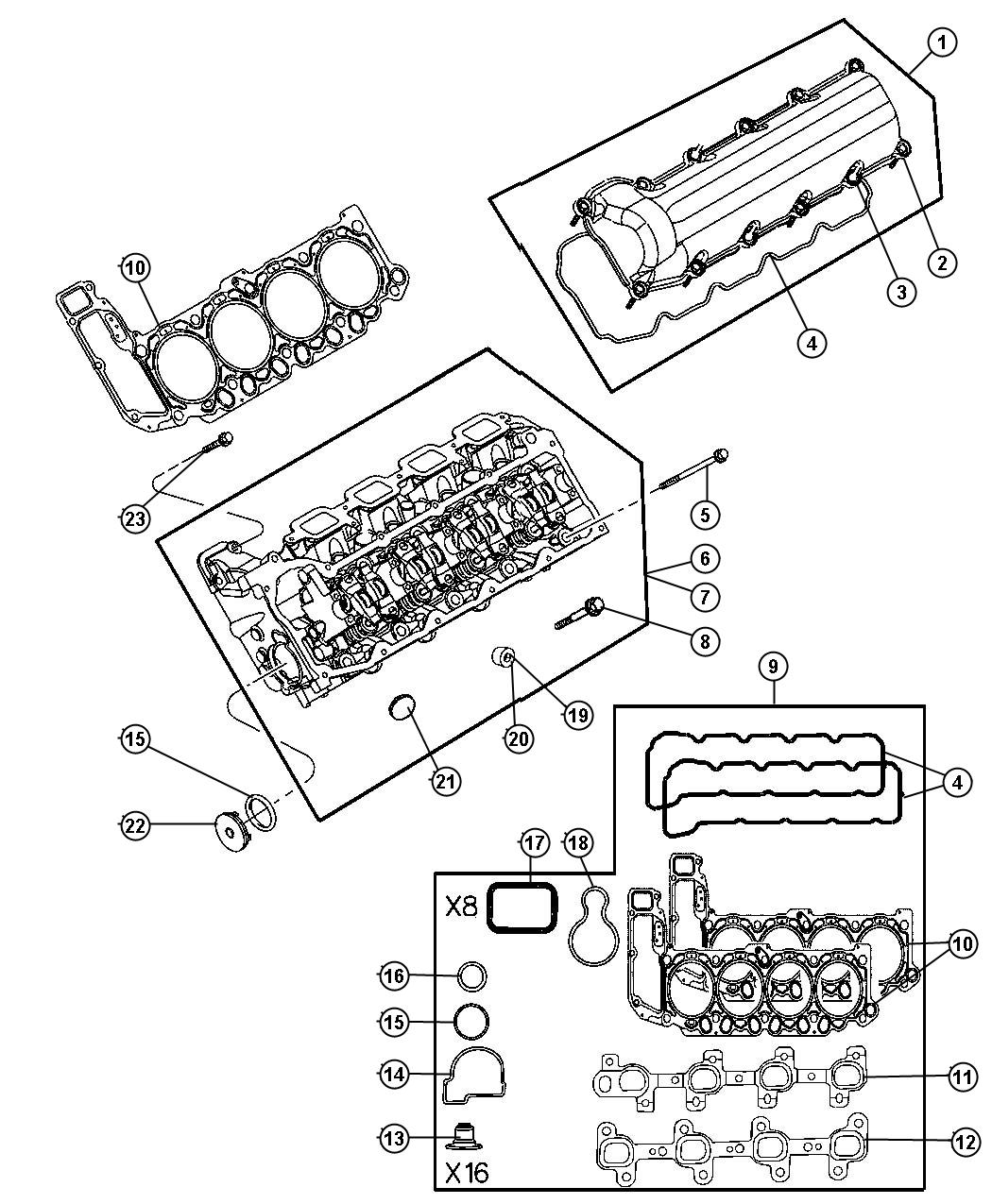 Cylinder Head 4.7L [4.7L V8 MPI Engine]. Diagram