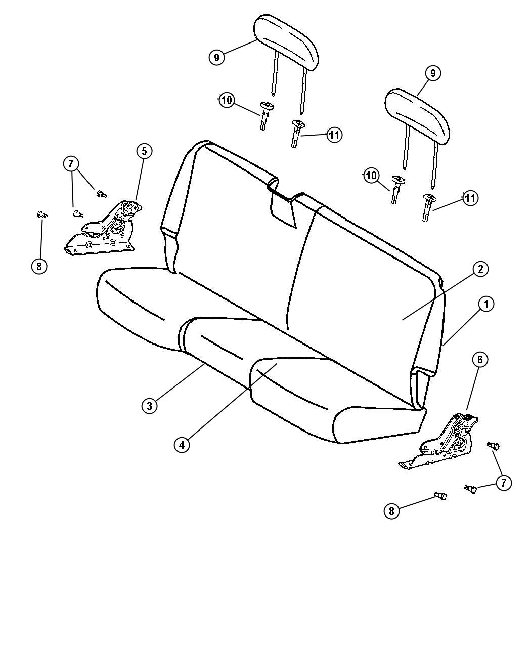 Diagram Rear Bench Seat. for your Dodge