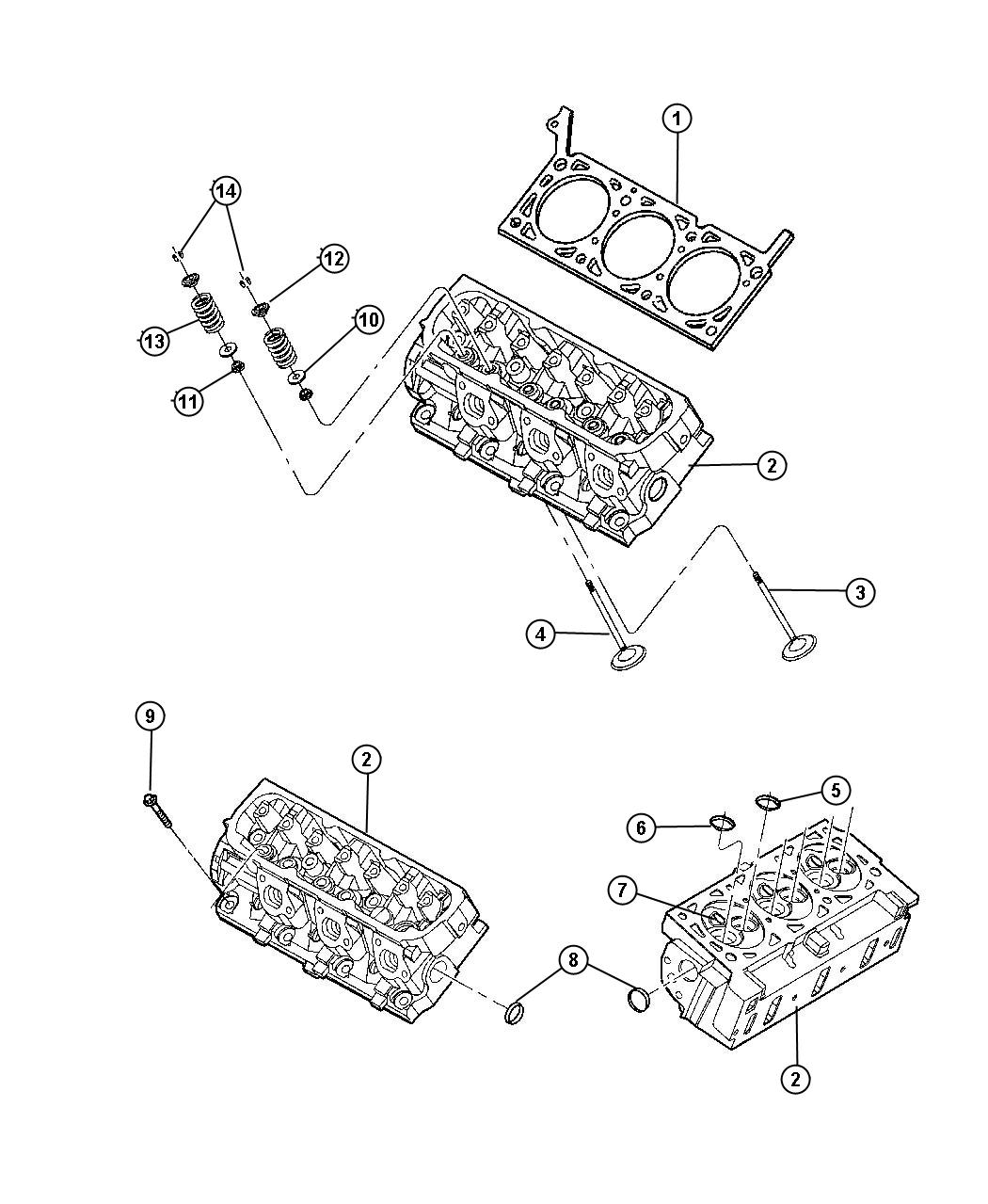 Cylinder Head And Components 3.3L [3.3L V6 OHV Engine]. Diagram