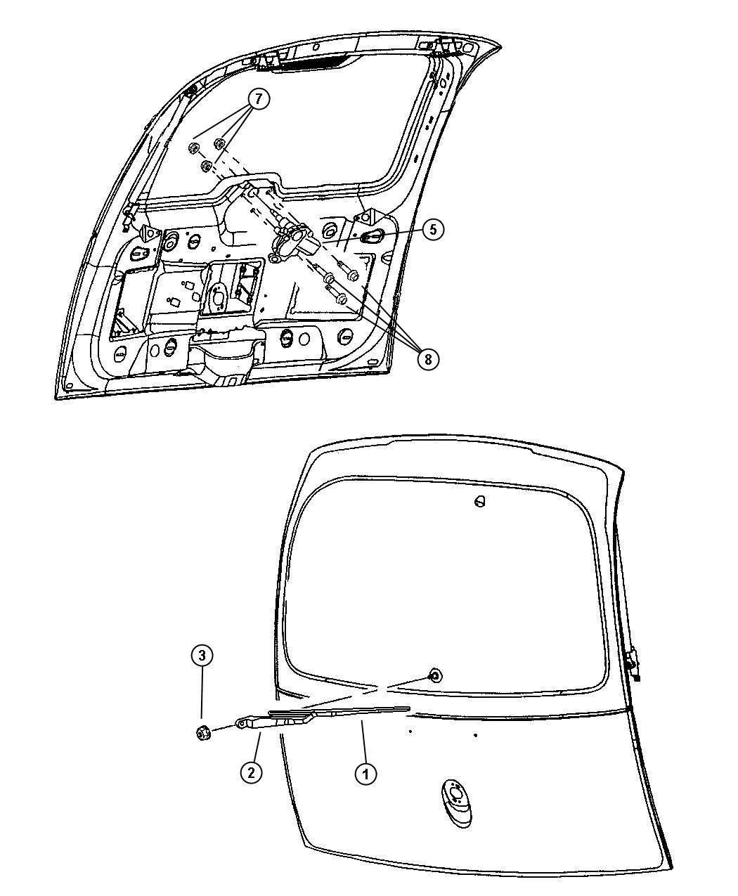 Rear Wiper and Washer. Diagram
