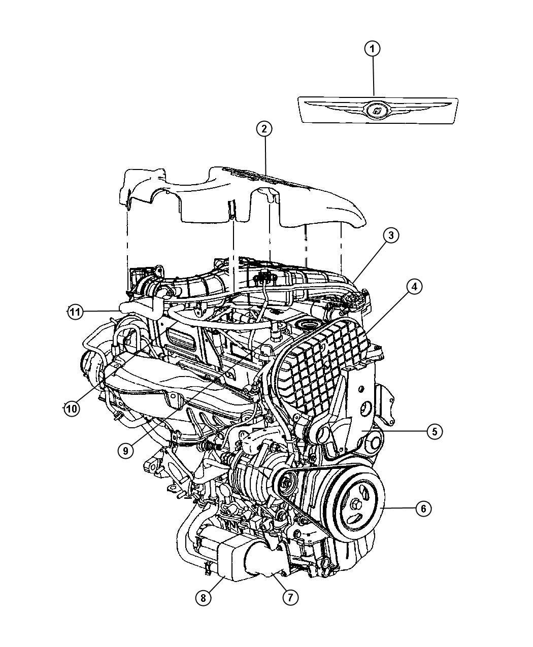 2006 pt cruiser 2 4l engine diagram chrysler    pt       cruiser    cover    engine    convertiable  27  chrysler    pt       cruiser    cover    engine    convertiable  27