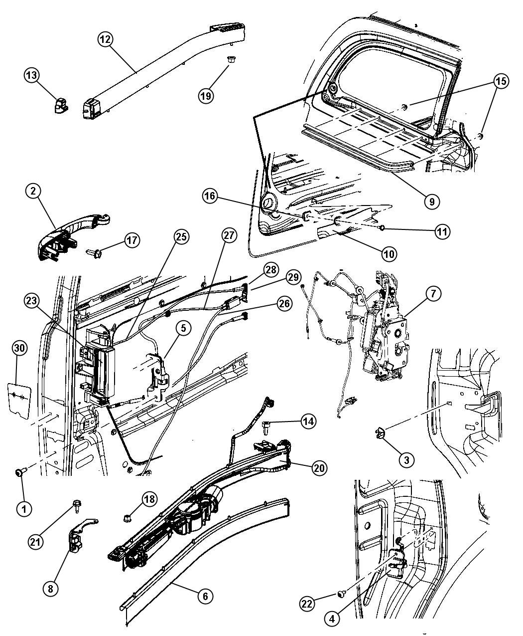 chrysler town country sliding door diagram