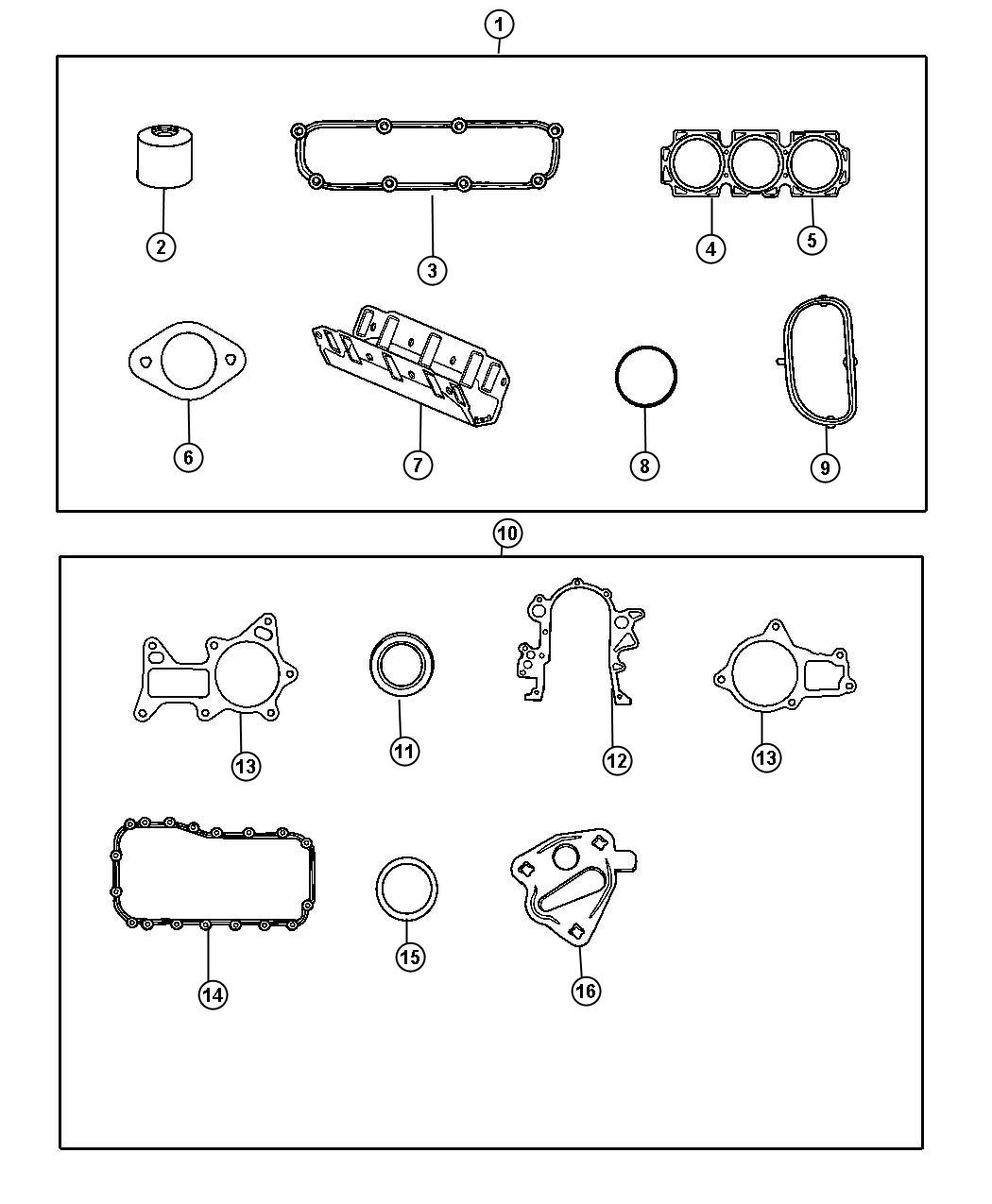 Diagram Engine Gasket Packages 3.8L [3.8L V6 OHV Engine]. for your 2008 Dodge Sprinter 2500