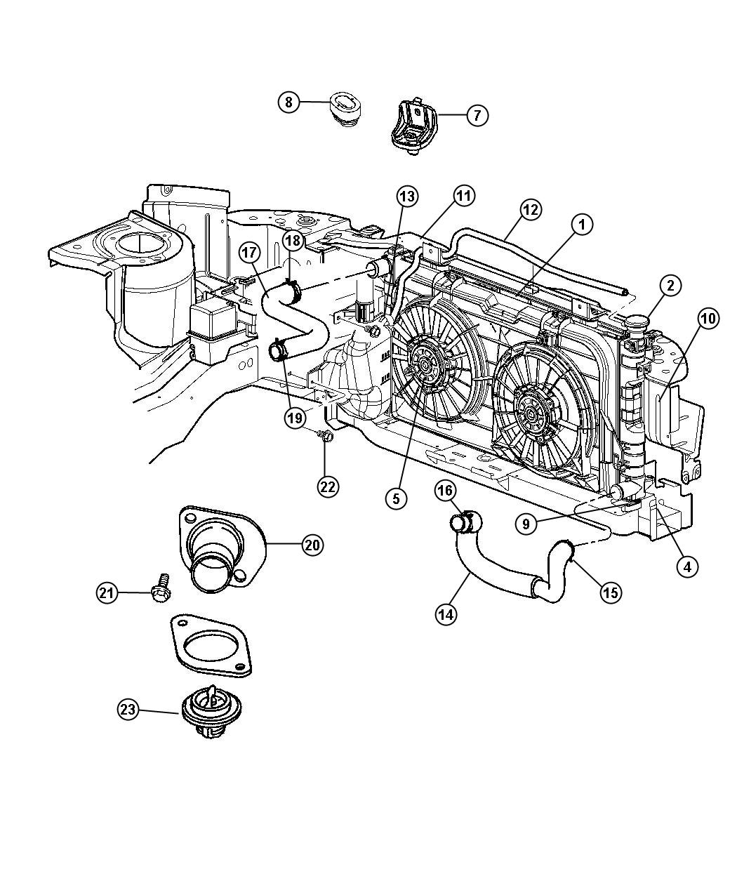 Diagram Radiator and Related Parts 3.3L [[3.3L V6 OHV Engine,3.3L V6 OHV FFV Engine]] 3.8L [3.8L V6 OHV Engine]. for your 2018 Dodge Grand Caravan