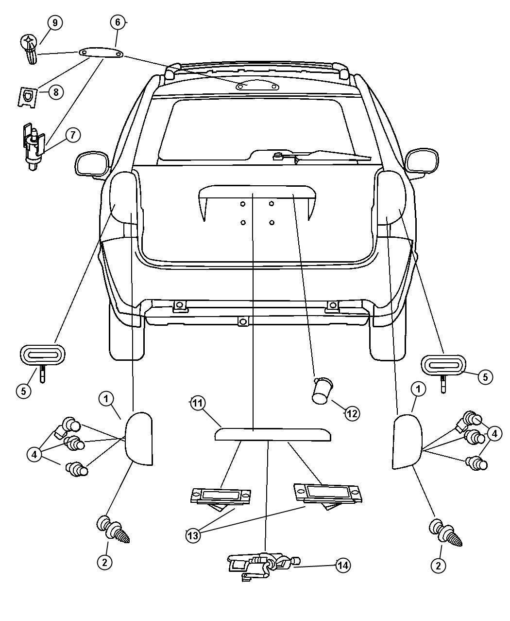 2004 Dodge Grand Caravan Wiring  License Lamp   License Plate Brow - Black