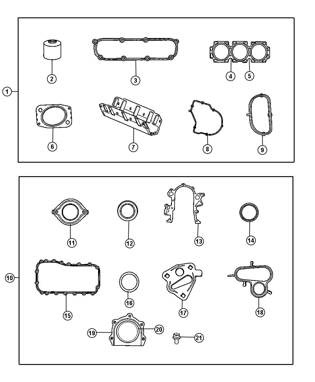 Diagram Gasket Packages 3.3L [3.3L V6 OHV Engine]  [Engine - 3.3L V6 SMPI]. for your Plymouth