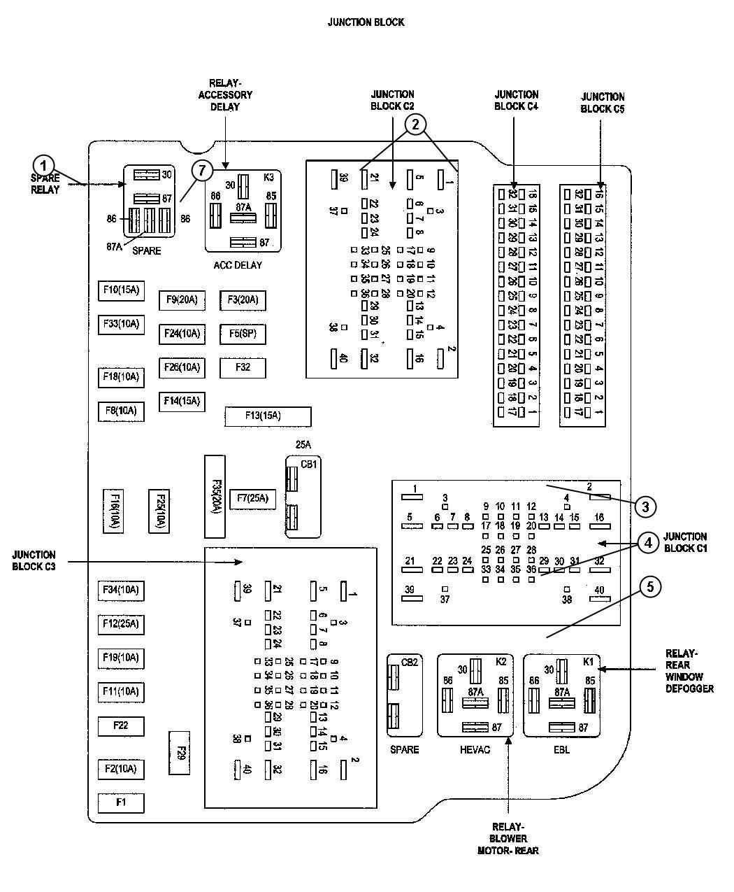 56049173ag dodge junction block relay factory. Black Bedroom Furniture Sets. Home Design Ideas