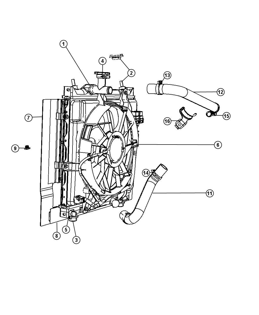 2008 Chrysler Pt Cruiser Fan Module  Radiator Cooling  Fan