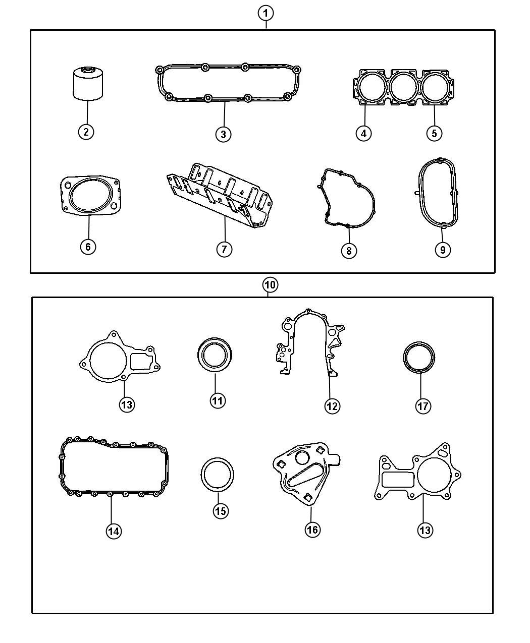 Gasket Packages 2.9L [2.9L V6 OHV Engine]. Diagram