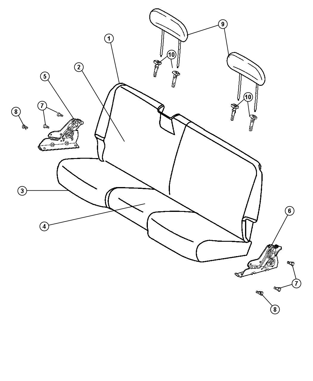 Diagram Rear Seat - Bench - Trim Code [TX]. for your Dodge
