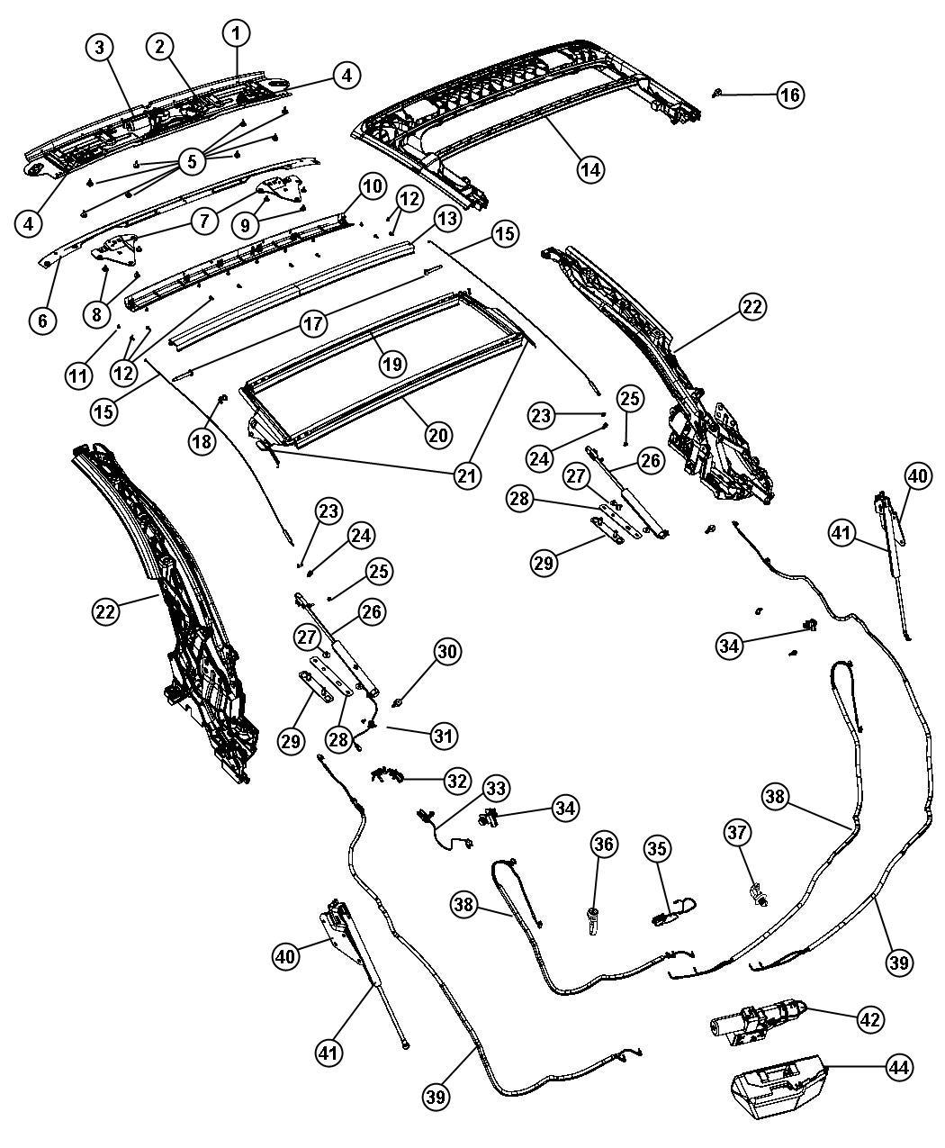 chrysler sebring convertible top trunk parts