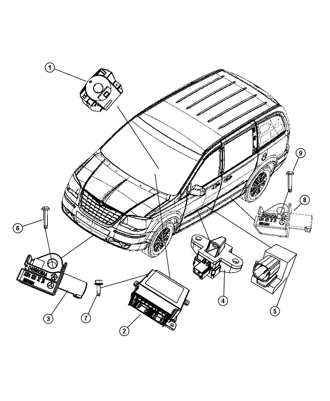 dodge airbag sensor location