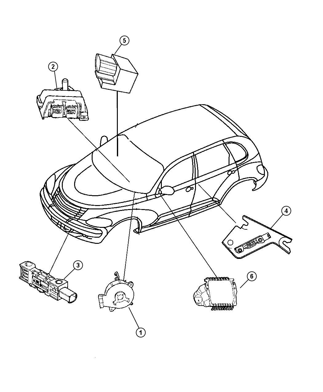 Diagram Air Bag Modules, Impact Sensors and Clock Spring. for your Dodge Journey