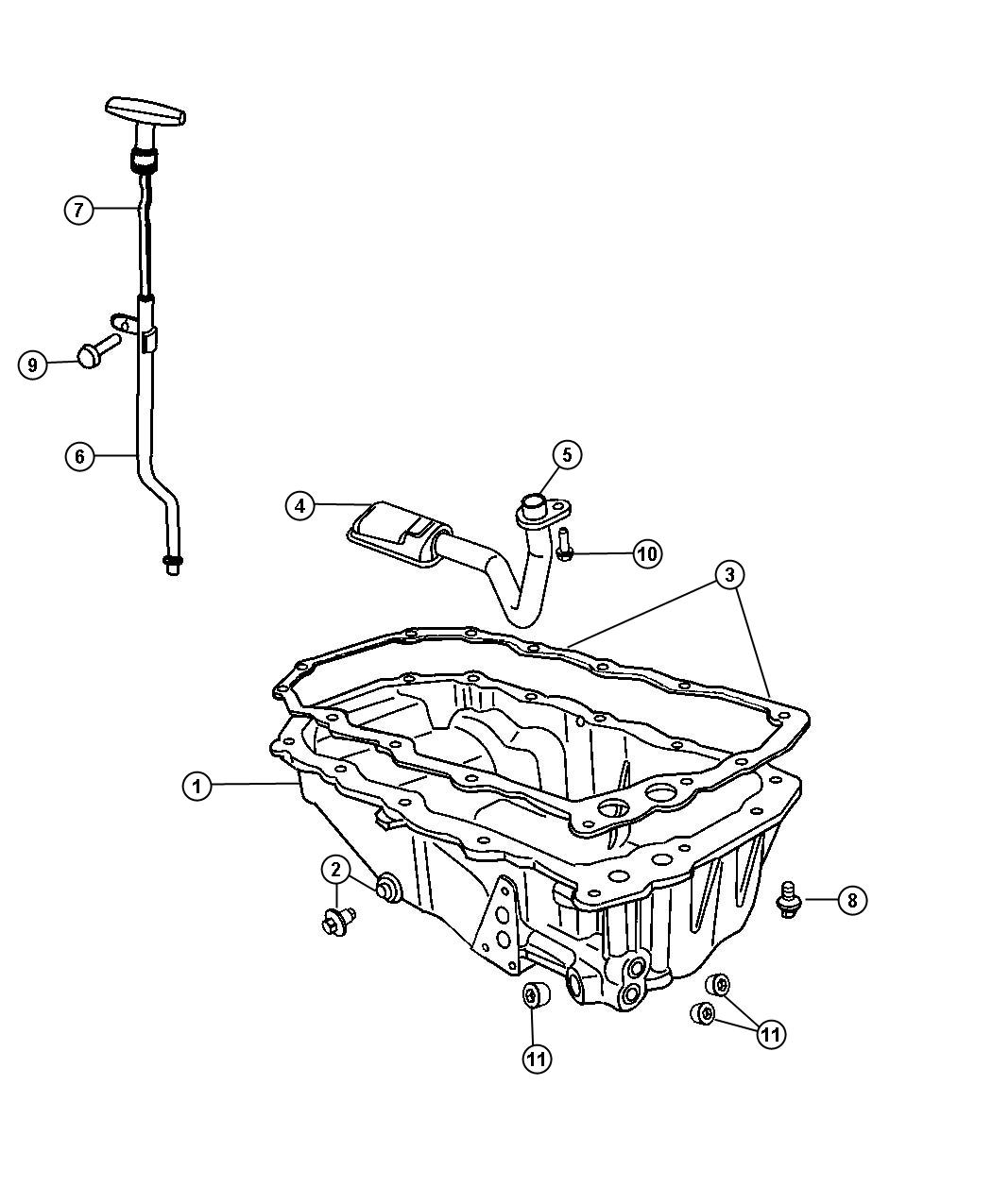 Engine Oil Pan, Engine Oil level Indicator And Related Parts 2.4L [2.4L I4 DOHC 16V SMPI Engine]. Diagram