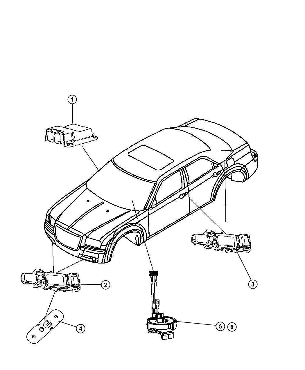 Diagram Air Bag Module, Impact Sensors, and Clockspring. for your Dodge Journey