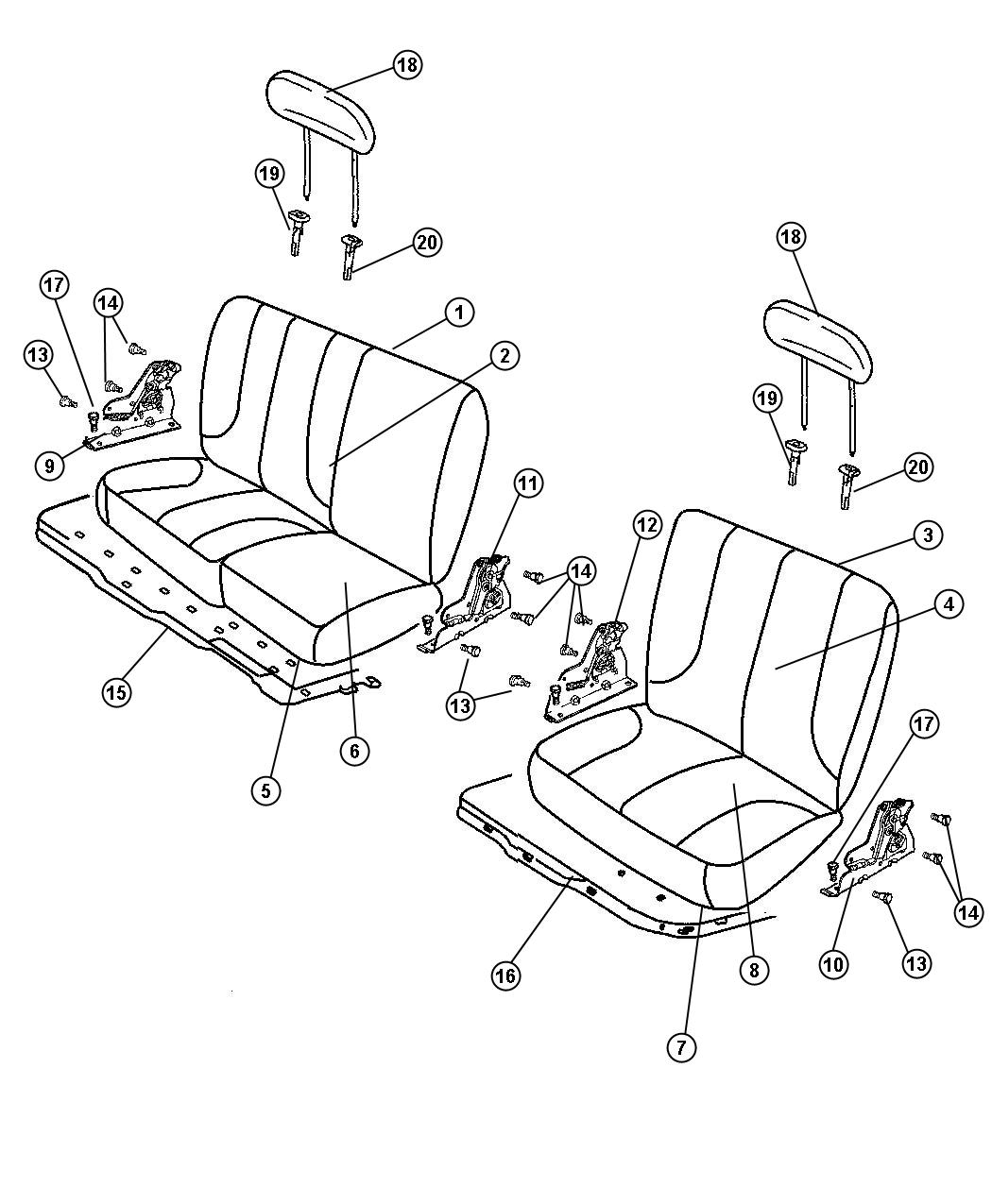 Diagram Rear Seat - Split Seat - Trim Code [GJ]. for your Dodge