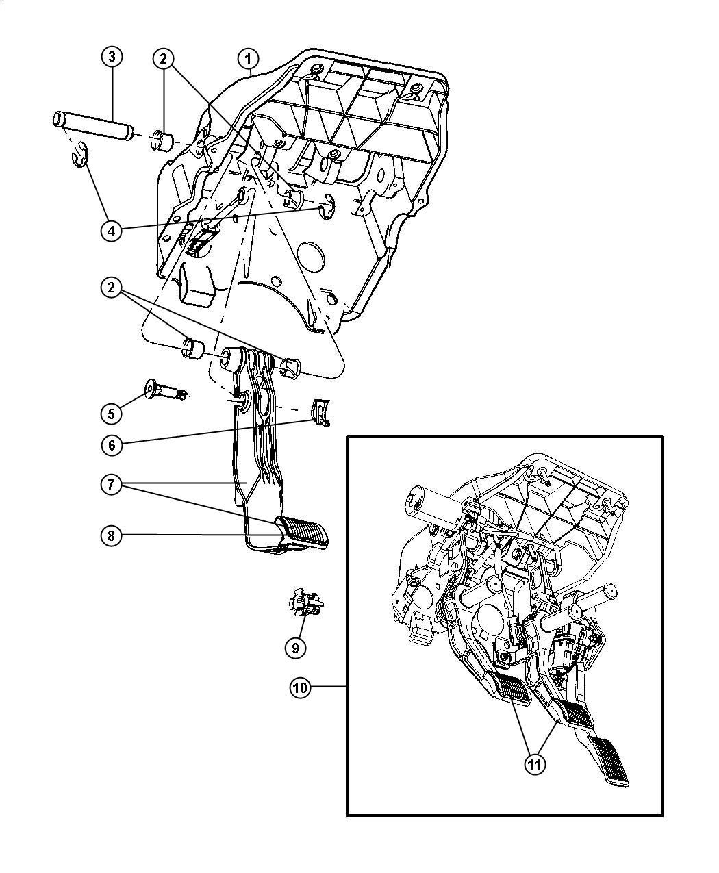 dodge ram 2500 pedal assembly  adjustable  brake  clutch and accelerator   dbb    dbb