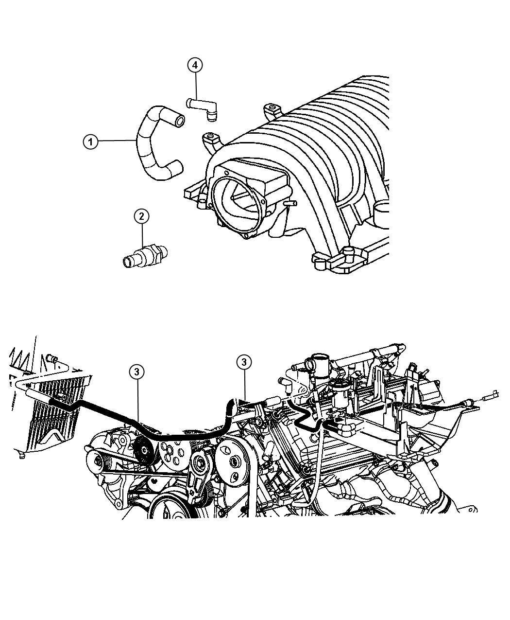2008 Jeep Grand Cherokee Hose  Pcv Valve To Intake Manifold
