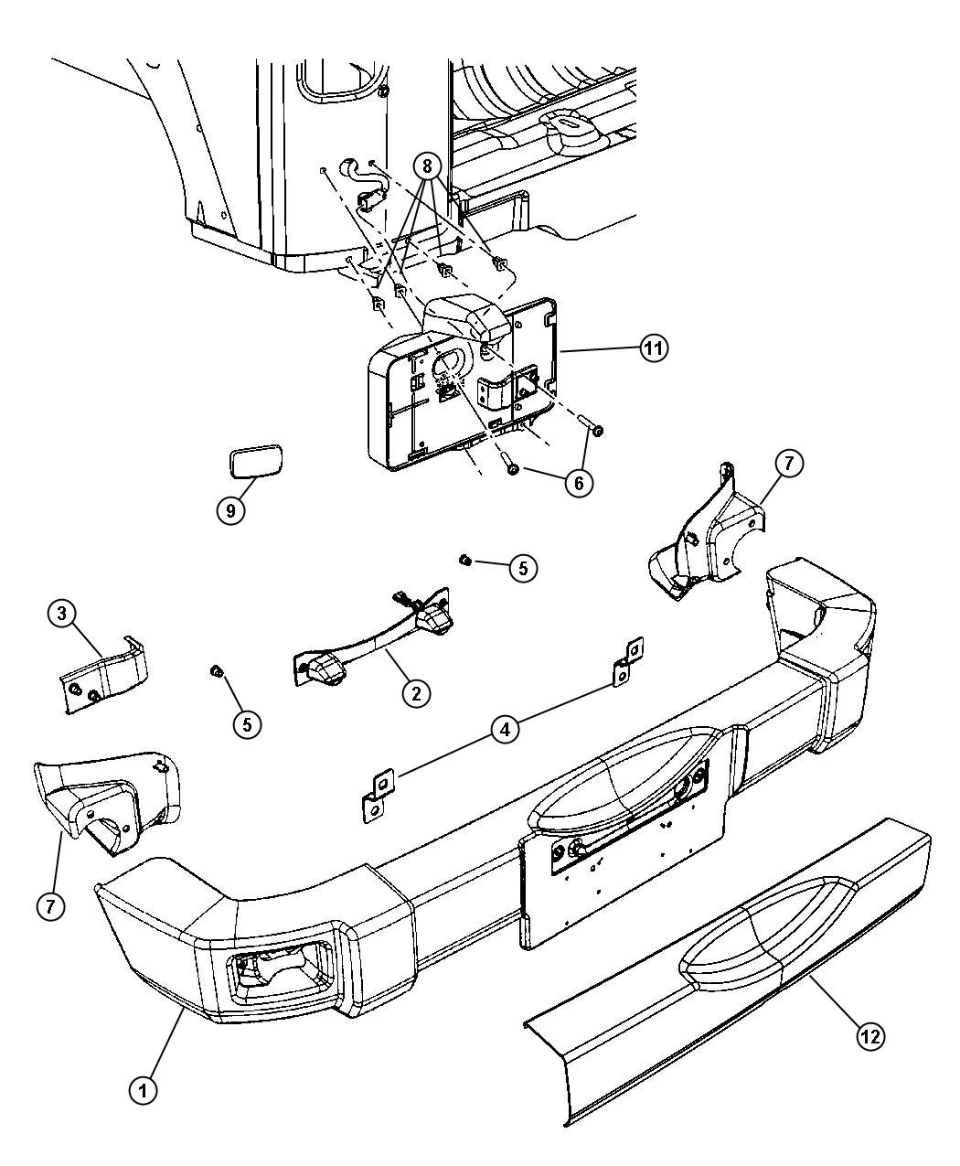jeep grand cherokee rear bumper parts diagram