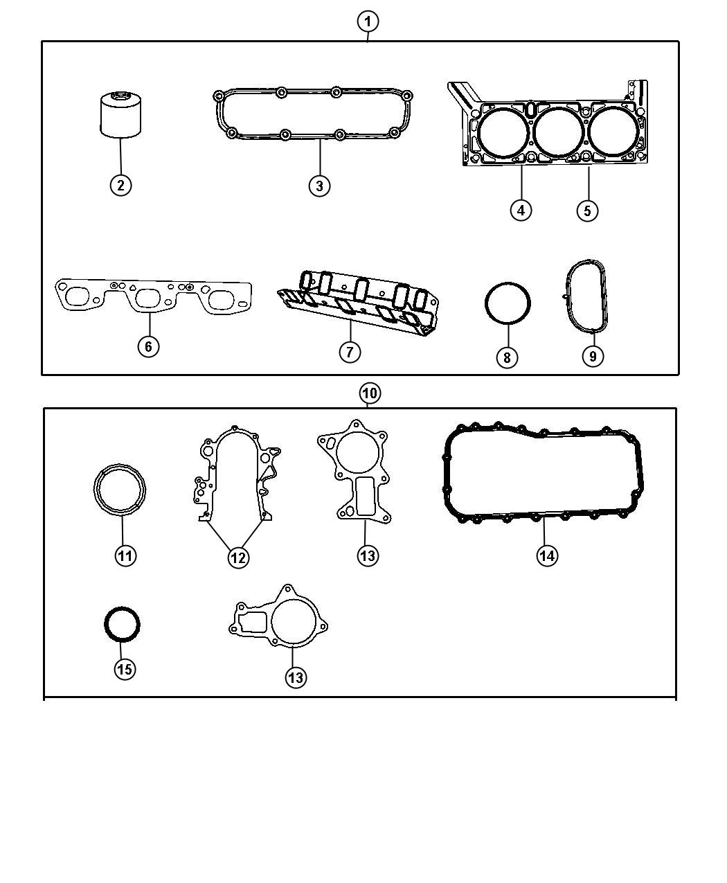 Engine Gasket Kits 3.8L [3.8L V6 SMPI Engine]. Diagram