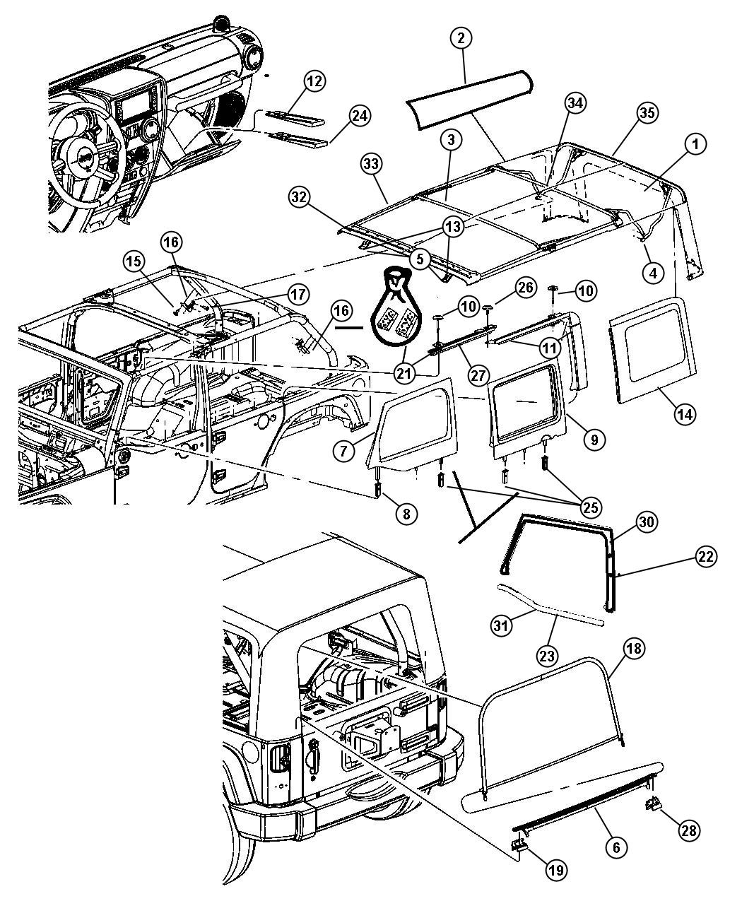jeep wrangler soft top oem parts