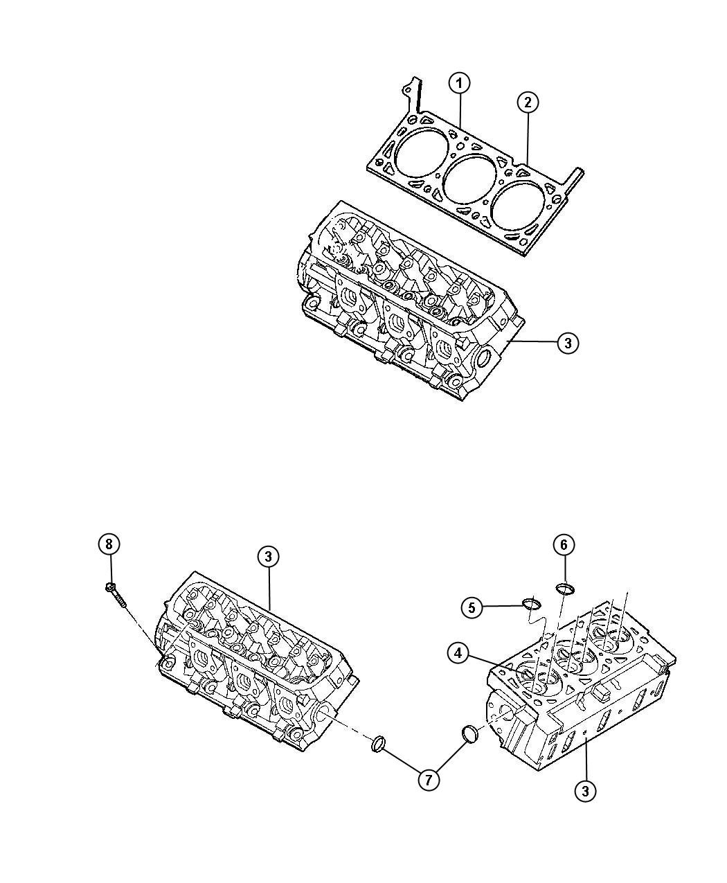 Cylinder Heads 3.3L [3.3L V6 OHV Engine]. Diagram