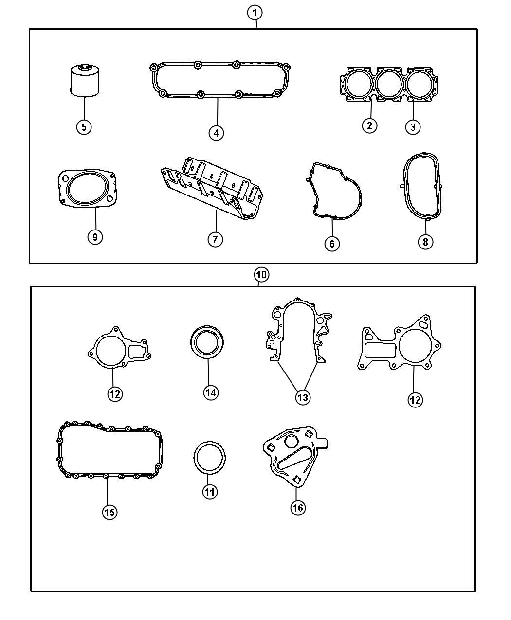 Diagram Engine Gasket Kits 3.8L [3.8L V6 OHV Engine]. for your 2010 Chrysler