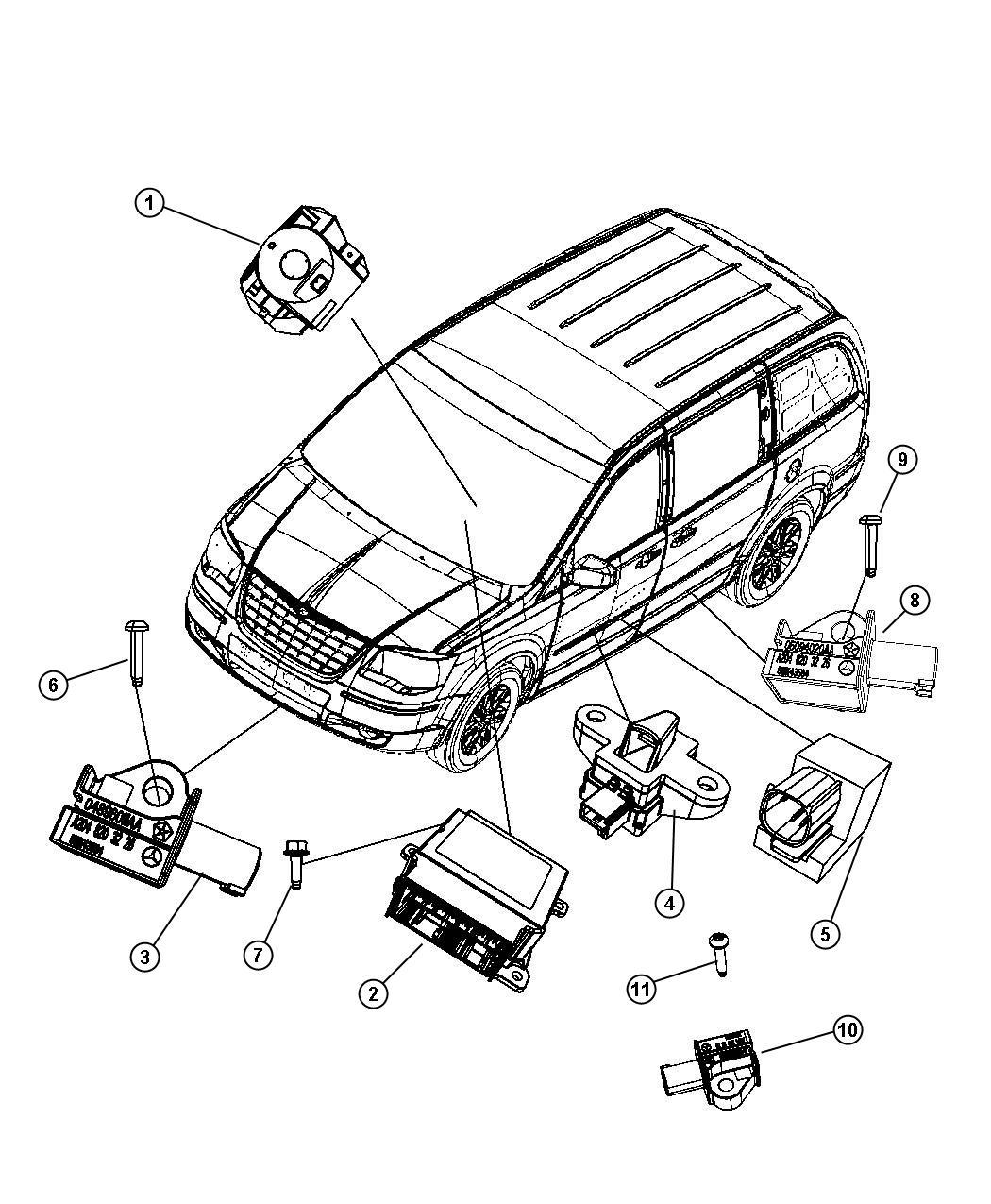 Chrysler Town & Country Sensor. Impact. Side