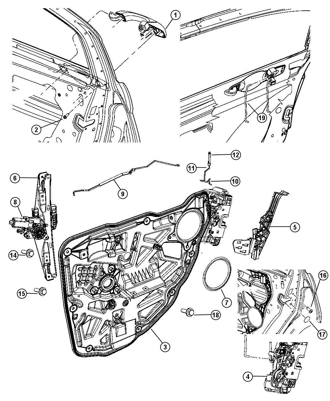 Chrysler 200 Motor. Window Regulator. 2 Pin. Left