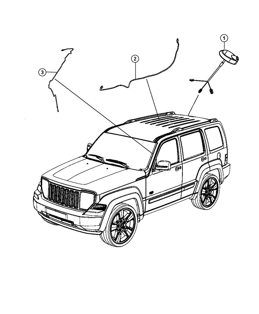 2012 jeep liberty antenna  used for  base cable and bracket  antennasirius  garmin