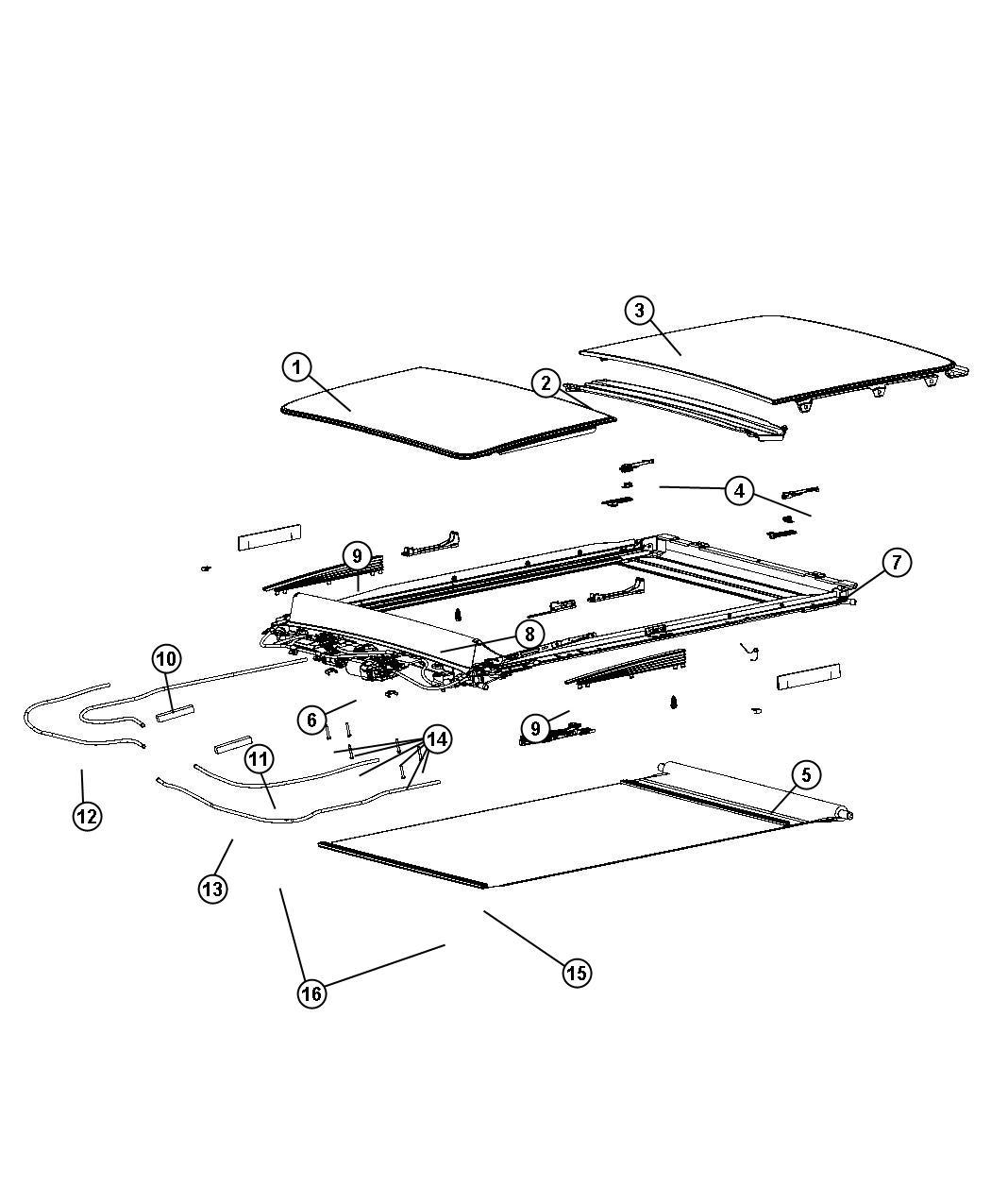 Chrysler 300 Guide  Mechanism  Sunroof Glass  Right  Trim