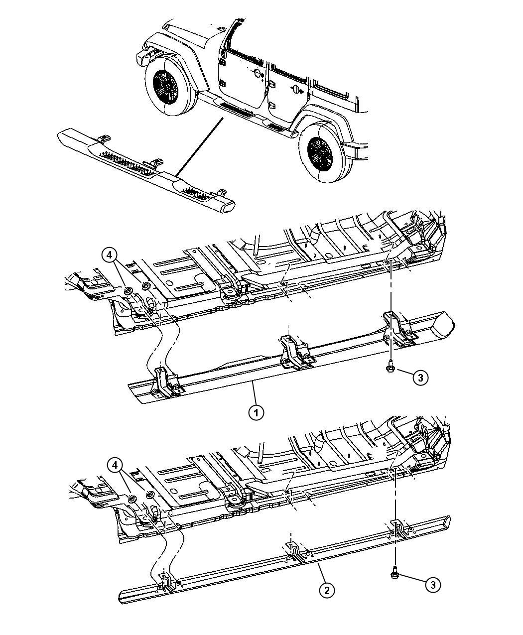 2013 Jeep Wrangler Sill  Body Side  Right   Mopar Rock