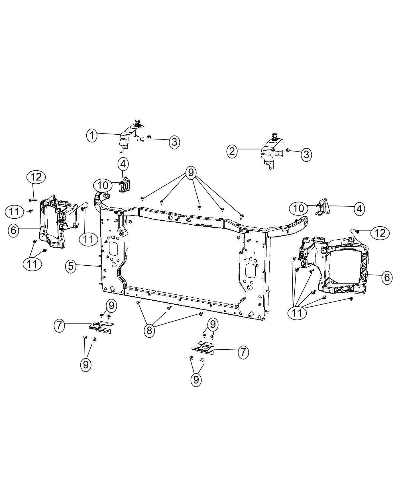 2014 Jeep Cherokee Bracket  Radiator Closure  Right