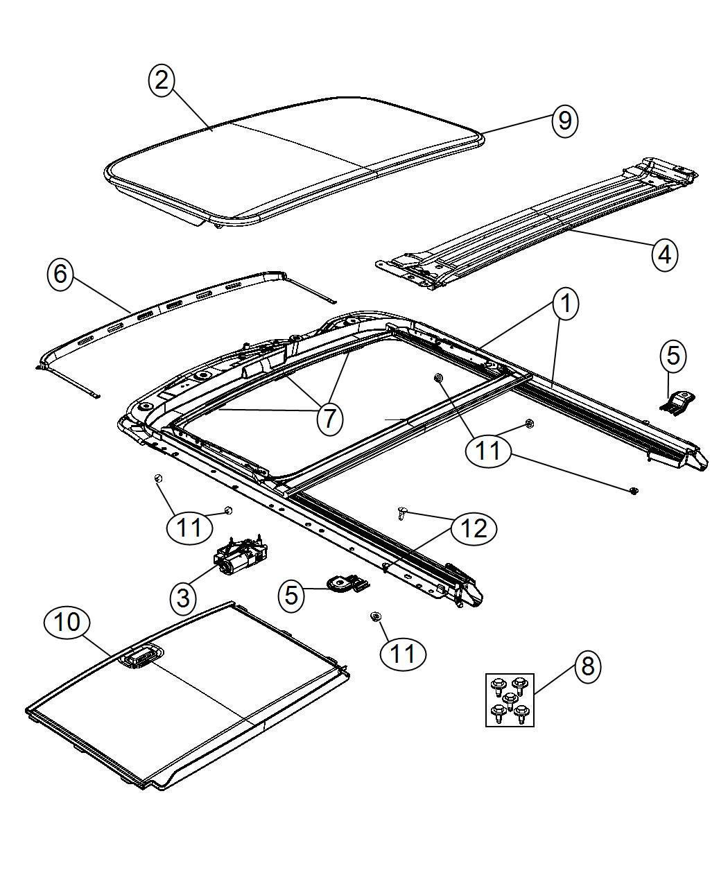 2008 Jeep Liberty Seal  Sunroof Glass  Trim   No Description Available