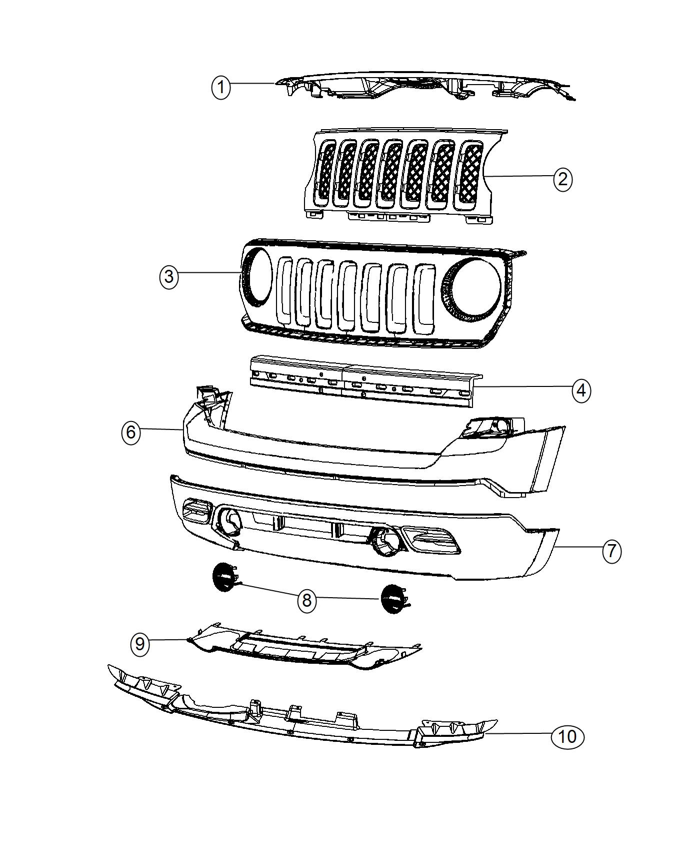 2016 Jeep Patriot Reinforcement  Front Bumper  Without
