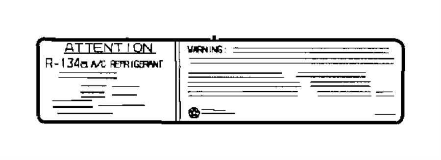 2005 Jeep Wrangler Label  Refrigerant