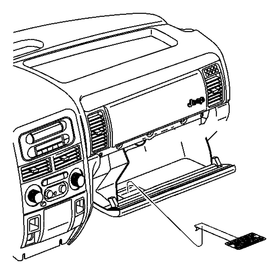 2000 chrysler voyager label  glove box door  passenger