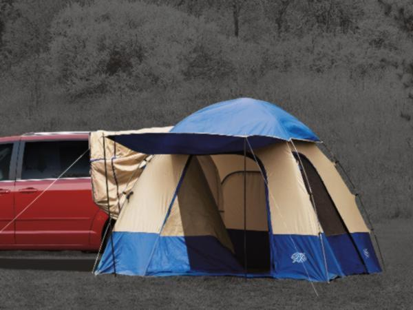 Dodge Grand Caravan The Tent Is Blue And Gray  Has A 10  X 10  Sleeping Area  Overhead Storage